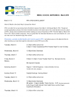 MIDDLE SCHOOL HAPPENINGS – March 2019
