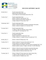 HIGH SCHOOL HAPPENINGS – May 2019