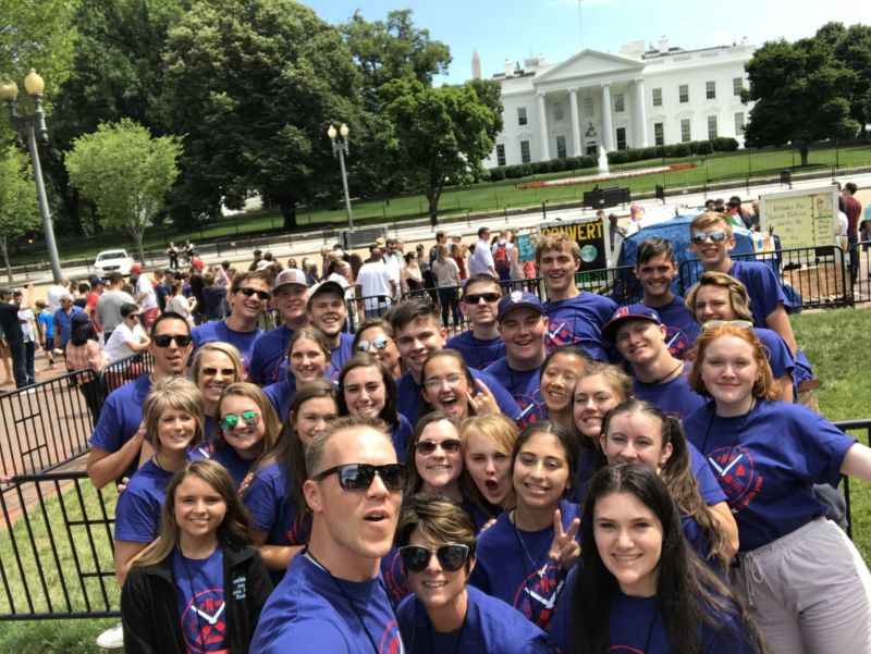 students in front of white house